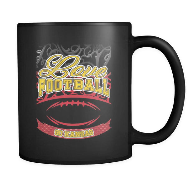 Love Football Game Go Kansas City Fan Apparel Gear Gradient Color Gift Black 11oz Coffee Mug-NeatFind.net