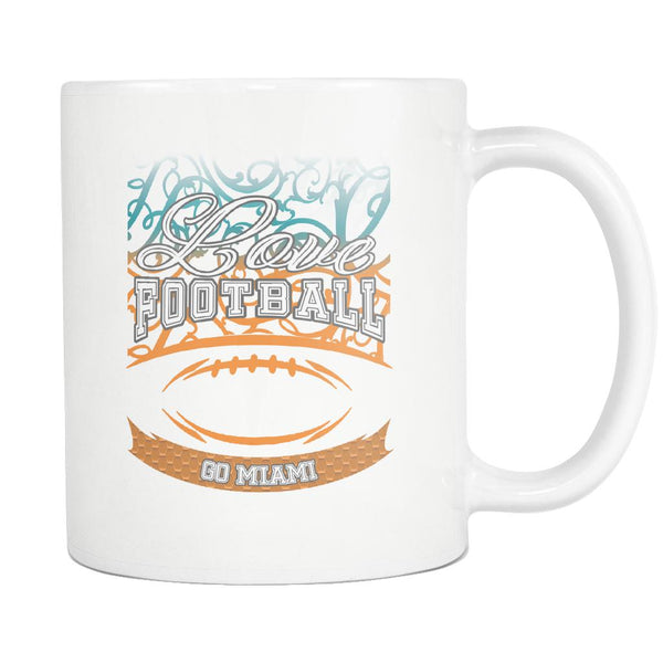 Love Football Game Go Miami Fan Apparel Gear Gradient Color Gift White 11oz Coffee Mug-NeatFind.net