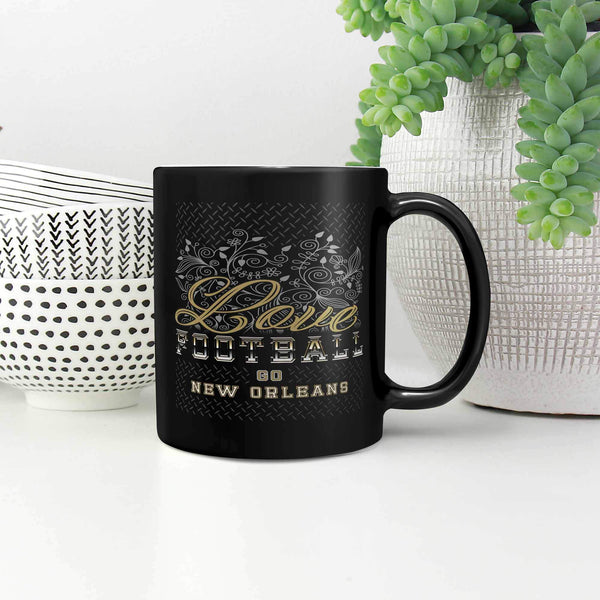 Love Football Game Go New Orleans Fan Gifts Tread Plate Black 11oz Mug-NeatFind.net