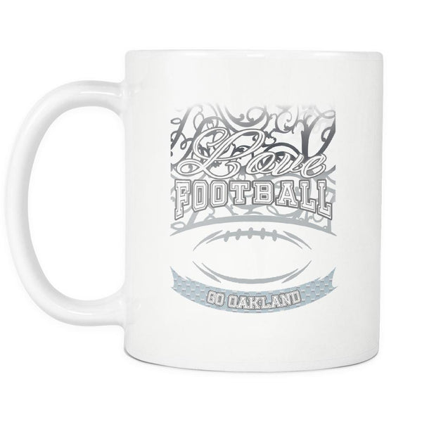 Love Football Game Go Oakland Fan Apparel Gear Gradient Color Gift White 11oz Coffee Mug-NeatFind.net