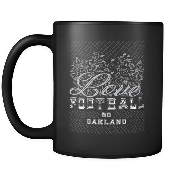 Love Football Game Go Oakland Fan Gifts Diamond Plate Black 11oz Mug-NeatFind.net