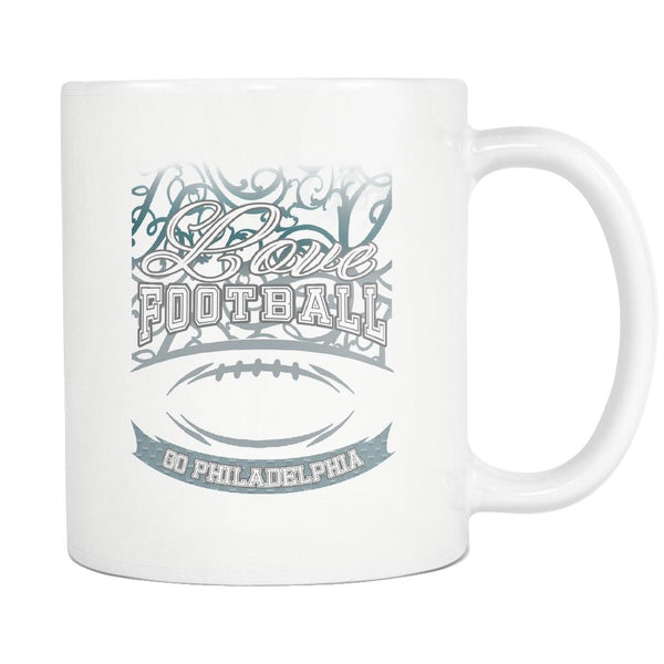 Love Football Game Go Philadelphia Fan Apparel Gear Gradient Color Gift White 11oz Coffee Mug-NeatFind.net
