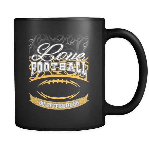 Love Football Game Go Pittsburgh Fan Apparel Gear Gradient Color Gift Black 11oz Coffee Mug-NeatFind.net
