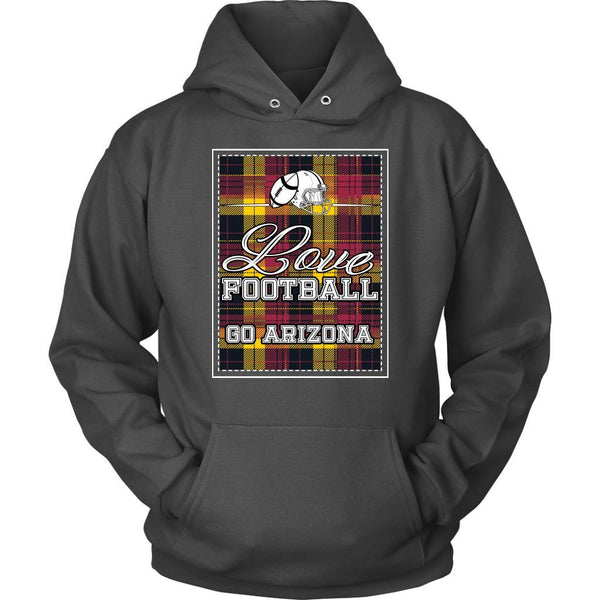 Love Football Go Arizona Fan Gifts Ideas Checkered Plaid Cool Soft Cozy Hoodie-NeatFind.net