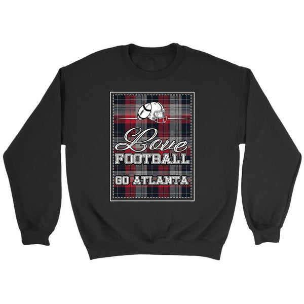 Love Football Go Atlanta Fan Gifts Ideas Checkered Plaid Cool Soft Cozy Sweater-NeatFind.net