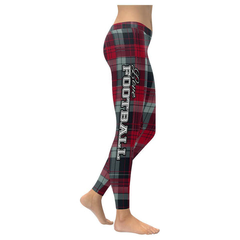 Love Football Go Atlanta Fan Plaid Checkered Soft UPF40+ Womens Leggings-NeatFind.net