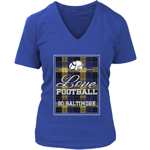 Love Football Go Baltimore Fan Gift Cute Checkered Plaid Soft VNeck TShirt Women-NeatFind.net
