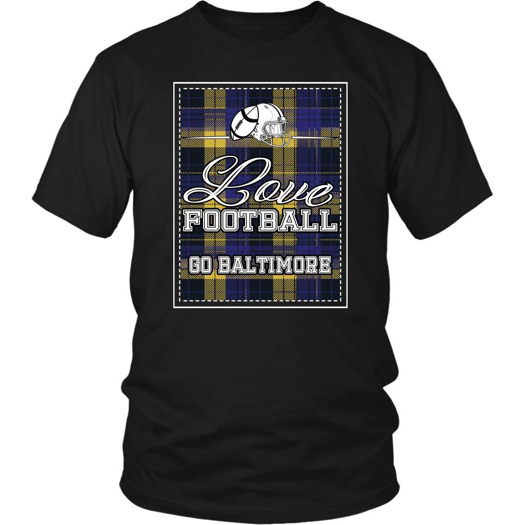 Love Football Go Baltimore Fan Gifts Checkered Plaid Awesome Cool Mens TShirts-NeatFind.net