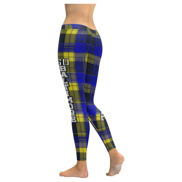 Love Football Go Baltimore Fan Plaid Checkered Soft UPF40+ Womens Leggings-NeatFind.net
