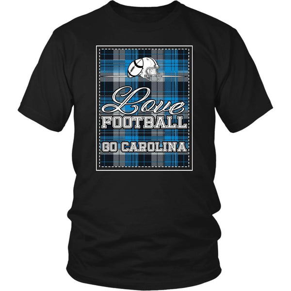 Love Football Go Carolina Fan Gifts Checkered Plaid Awesome Cool Mens TShirts-NeatFind.net