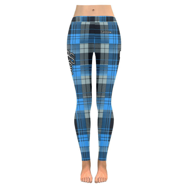 Love Football Go Carolina Fan Plaid Checkered Soft UPF40+ Womens Leggings-NeatFind.net