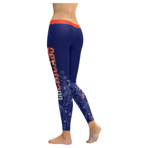 Love Football Go Chicago Fan Diamond Plate Soft UPF40+ Womens Leggings-NeatFind.net