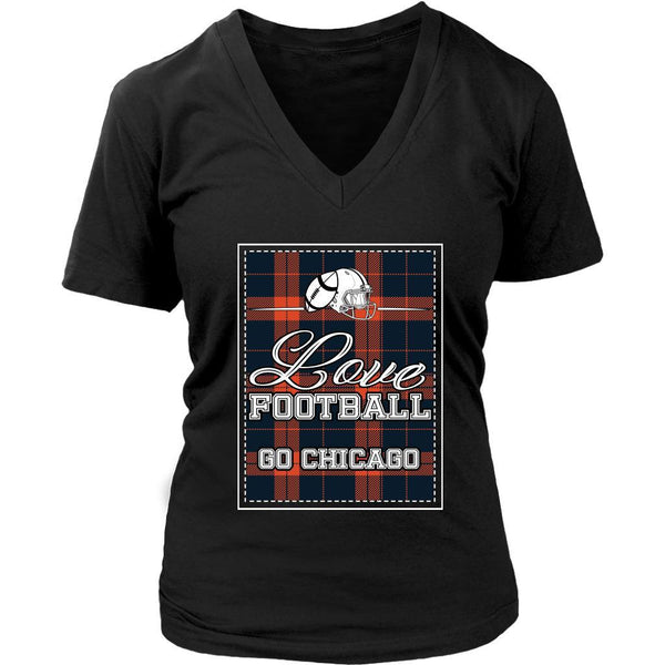 Love Football Go Chicago Fan Gifts Cute Checkered Plaid Soft VNeck TShirt Women-NeatFind.net