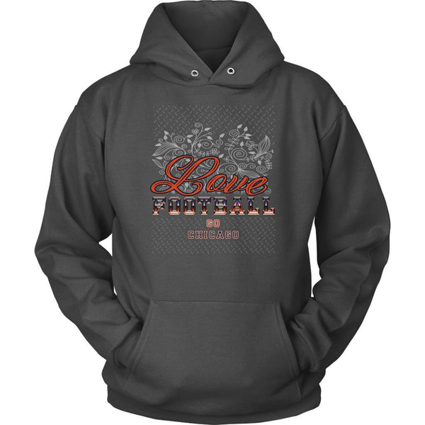 Love Football Go Chicago Fan Gifts Ideas Diamond Plate Cool Soft Cozy Hoodie-NeatFind.net