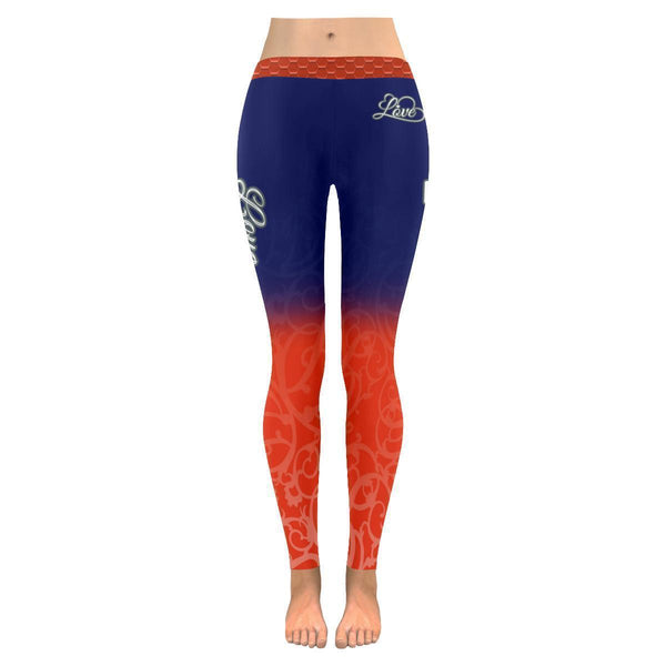 Love Football Go Chicago Fan Gradient Color Dye Soft UPF40+ Womens Leggings-NeatFind.net