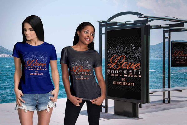 Love Football Go Cincinnati Fan Gift Cute Diamond Plate Soft Comfy TShirt Women-NeatFind.net