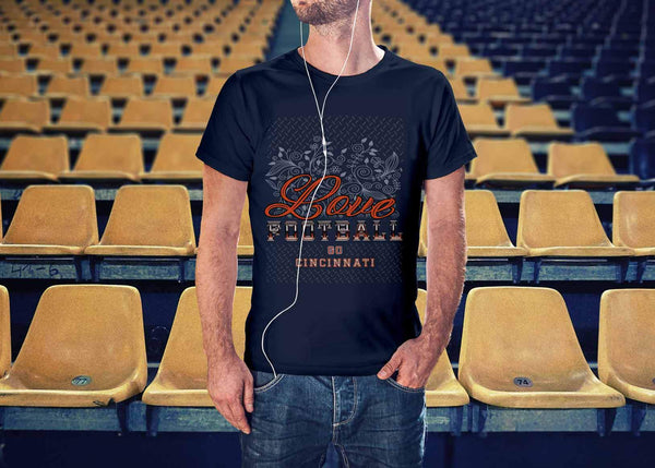 Love Football Go Cincinnati Fan Gifts Diamond Plate Awesome Cool Mens TShirts-NeatFind.net