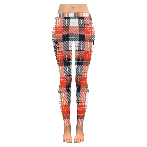 Love Football Go Cincinnati Fan Plaid Checkered Soft UPF40+ Womens Leggings-NeatFind.net