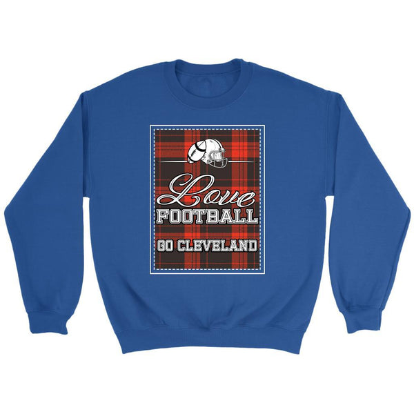 Love Football Go Cleveland Fan Gift Ideas Checkered Plaid Cool Soft Cozy Sweater-NeatFind.net