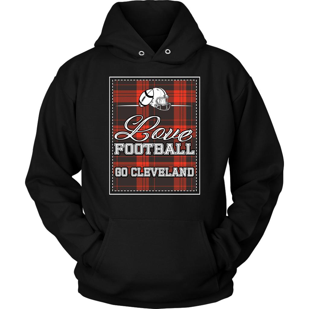 Love Football Go Cleveland Fan Gifts Ideas Checkered Plaid Cool Soft Cozy Hoodie-NeatFind.net