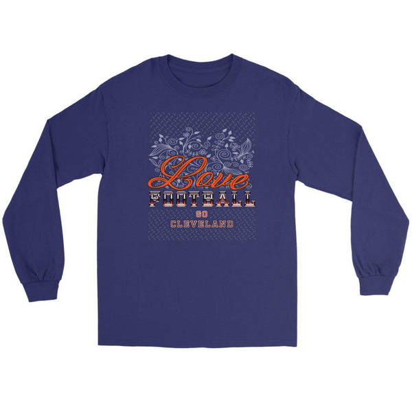 Love Football Go Cleveland Fan Gifts Ideas Diamond Plate Cool Soft Long Sleeve-NeatFind.net