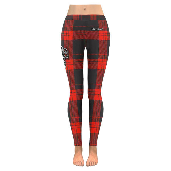Love Football Go Cleveland Fan Plaid Checkered Soft UPF40+ Womens Leggings-NeatFind.net