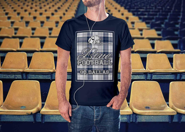Love Football Go Dallas Fan Gifts Checkered Plaid Awesome Cool Mens TShirts-NeatFind.net