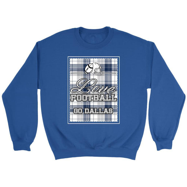 Love Football Go Dallas Fan Gifts Ideas Checkered Plaid Cool Soft Cozy Sweater-NeatFind.net
