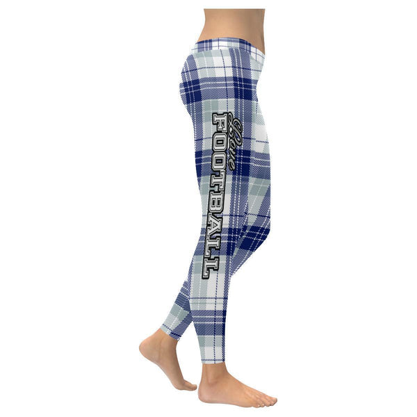 Love Football Go Dallas Fan Plaid Checkered Soft UPF40+ Womens Leggings-NeatFind.net