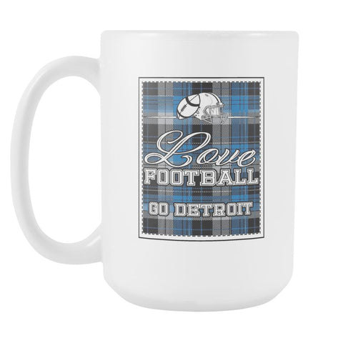 Love Football Go Detroit Fan Gifts Gingham Plaid Tartan White 15oz Mug-NeatFind.net
