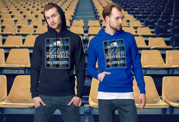Love Football Go Detroit Fan Gifts Ideas Checkered Plaid Cool Soft Cozy Hoodie-NeatFind.net