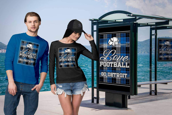 Love Football Go Detroit Fan Gifts Ideas Checkered Plaid Cool Soft Long Sleeve-NeatFind.net