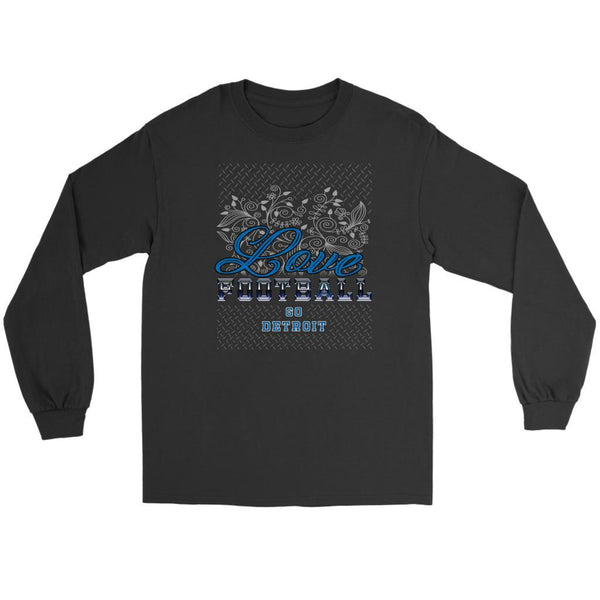 Love Football Go Detroit Fan Gifts Ideas Diamond Plate Cool Soft Long Sleeve-NeatFind.net