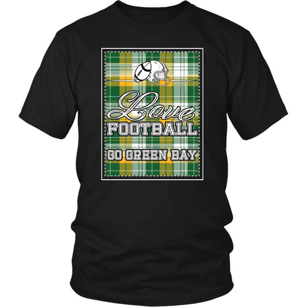 Love Football Go Green Bay Fan Gifts Checkered Plaid Awesome Cool Mens TShirts-NeatFind.net