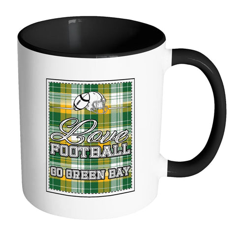 Love Football Go Green Bay Fan Gifts Checkered Plaid Tartan 7Color Mug-NeatFind.net