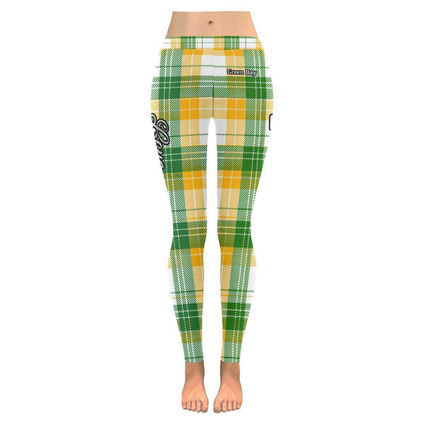 Love Football Go Green Bay Fan Plaid Checkered Soft UPF40+ Womens Leggings-NeatFind.net