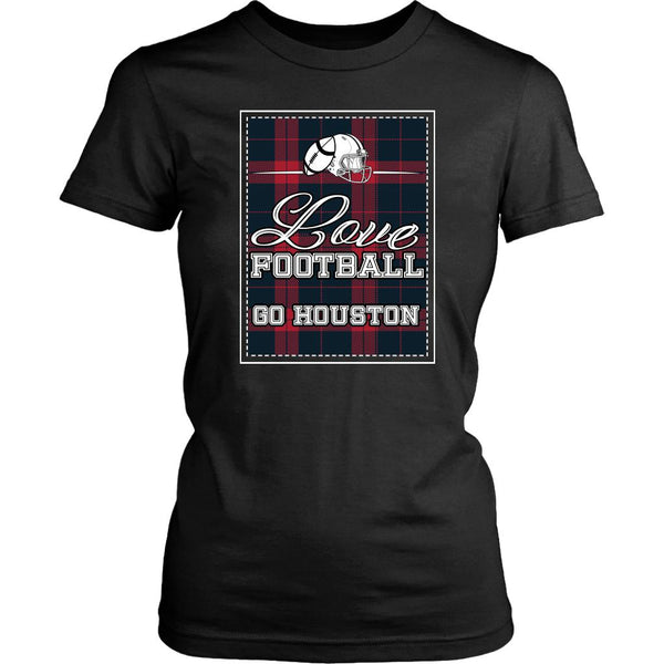 Love Football Go Houston Fan Gifts Cute Checkered Plaid Soft Comfy TShirt Women-NeatFind.net