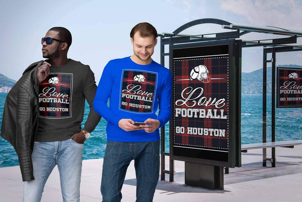 Love Football Go Houston Fan Gifts Ideas Checkered Plaid Cool Soft Cozy Sweater-NeatFind.net