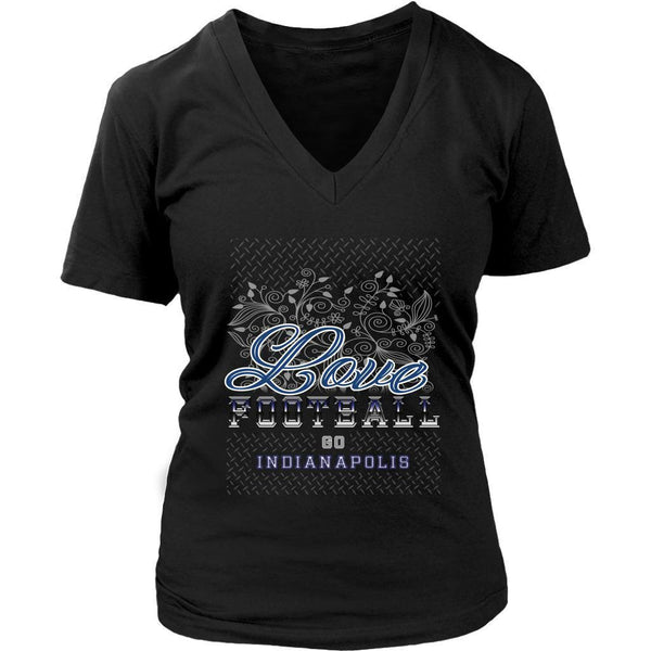 Love Football Go Indianapolis Fan Gifts Diamond Plate Soft VNeck TShirt Women-NeatFind.net