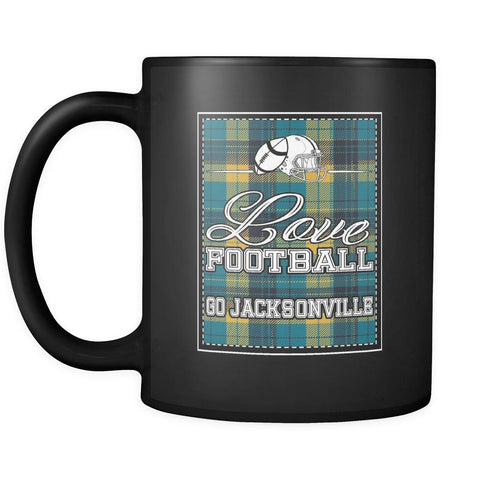 Love Football Go Jacksonville Fan Gift Gingham Plaid Tartan Black Mug-NeatFind.net
