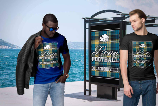 Love Football Go Jacksonville Fan Gifts Checkered Plaid Awesome Cool Mens TShirt-NeatFind.net