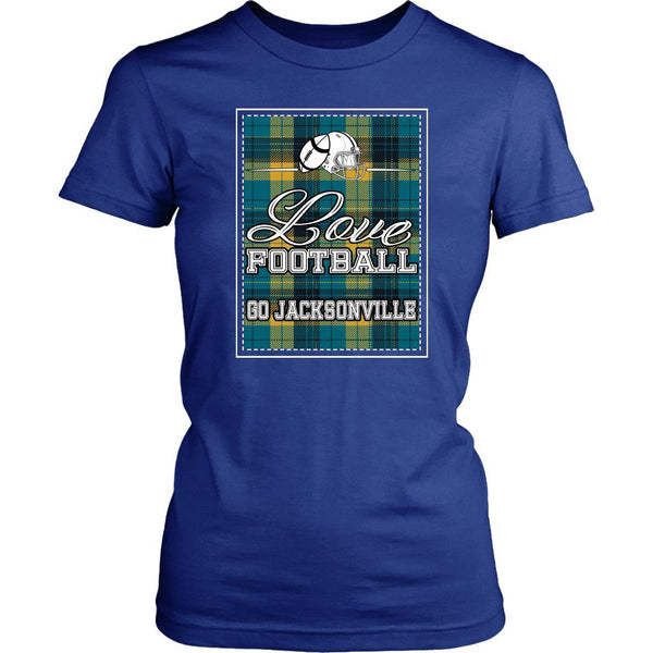 Love Football Go Jacksonville Fan Gifts Checkered Plaid Soft Comfy TShirt Women-NeatFind.net