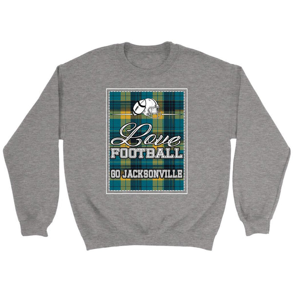 Love Football Go Jacksonville Fan Gifts Ideas Checkered Plaid Soft Cozy Sweater-NeatFind.net