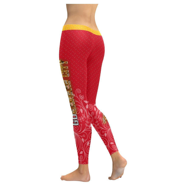 Love Football Go Kansas City Fan Diamond Plate Soft UPF40+ Womens Leggings-NeatFind.net