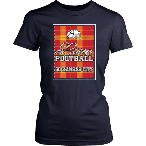 Love Football Go Kansas City Fan Gifts Checkered Plaid Soft Comfy TShirt Women-NeatFind.net