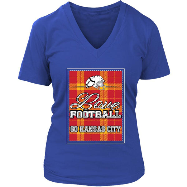 Love Football Go Kansas City Fan Gifts Checkered Plaid Soft VNeck TShirt Women-NeatFind.net