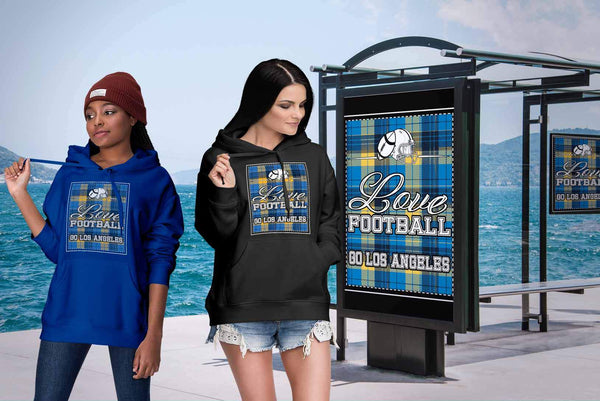 Love Football Go Los Angeles Fan Gift Idea Checkered Plaid Cool Soft Cozy Hoodie-NeatFind.net