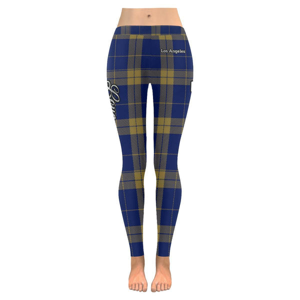 Love Football Go Los Angeles Fan Gift Idea Checkered Plaid UPF40 Womens Leggings-NeatFind.net