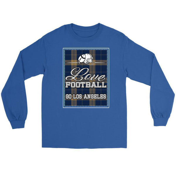 Love Football Go Los Angeles Fan Gifts Ideas Checkered Plaid Soft Long Sleeve-NeatFind.net