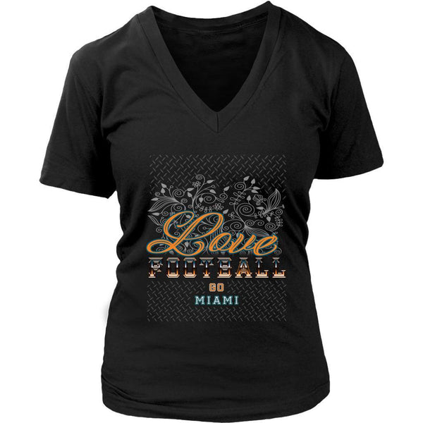 Love Football Go Miami Fan Gifts Cute Diamond Plate Soft VNeck TShirt Women-NeatFind.net
